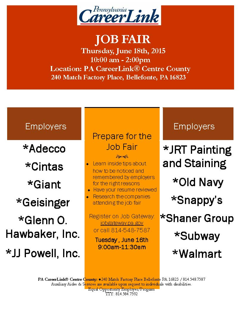 PA CareerLink JOB FAIR - GoPennsValley comGoPennsValley com