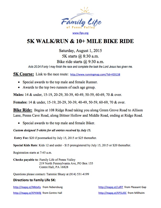 5K WALK RUN BIKE 2015 Registration Form